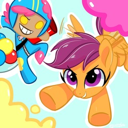 Size: 1536x1536 | Tagged: safe, artist:colorfulcolor233, scootaloo, human, pegasus, pony, cookie run, duo, female, filly, flying, gumball cookie, helmet, scootaloo can fly
