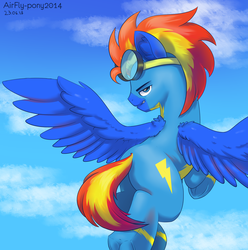 Size: 4170x4200 | Tagged: artist:airfly-pony2014, blue eyes, clothes, cloud, ear fluff, flying, frog (hoof), goggles, in the sky, looking at you, looking back, looking back at you, male, oc, oc only, oc:wing hurricane, pegasus, plot, pony, red mane, safe, sky, smiling, smiling at you, solo, spread wings, stallion, teeth, underhoof, uniform, wings, wonderbolts, wonderbolts uniform, yellow mane