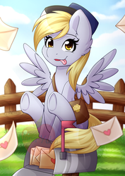 Size: 2480x3507 | Tagged: artist:nana-yuka, blep, cute, derpabetes, derpy hooves, ear fluff, female, fence, letter, mailbox, mare, obtrusive watermark, pegasus, pony, safe, silly, solo, spread wings, tongue out, wing fluff, wings