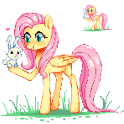 Size: 591x591 | Tagged: angel bunny, artist:hikkage, female, fluttershy, heart, mare, pegasus, pixel art, pony, safe, simple background, white background