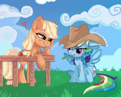 Size: 2000x1600 | Tagged: accessory swap, appledash, applejack, applejack's hat, artist:everlastingderp, blushing, cowboy hat, cute, dashabetes, female, hat, heart, jackabetes, lesbian, pony, rainbow dash, safe, shipping, starry eyes, wingding eyes