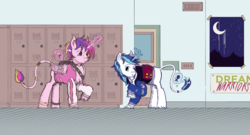 Size: 4885x2631 | Tagged: alicorn, artist:dreamingnoctis, canon ship, carnation, classical unicorn, cloven hooves, enamel pin, flower, gay, hallway, high school, leonine tail, letterman jacket, lockers, magic, male, moon, poster, prince bolero, princess cadance, romantic, rule 63, saddle bag, safe, shining armor, shy, sukajan, telekinesis, unicorn, unshorn fetlocks, violet rose