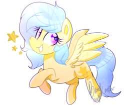 Size: 1211x1021 | Tagged: artist:euphoriiah, female, flying, heart eyes, looking back, mare, oc, oc only, oc:singery anne, pegasus, pony, safe, simple background, solo, spread wings, stars, transparent background, wingding eyes, wings