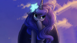 Size: 2667x1500 | Tagged: alicorn, alternate version, artist:katputze, bedroom eyes, covering, cute, edit, female, floppy ears, flower, flower in hair, lunabetes, pony, princess luna, safe, smiling, solo, spread wings, wallpaper, wallpaper edit, wings