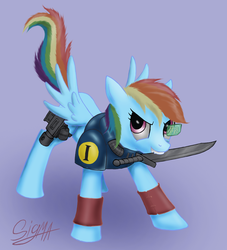 Size: 1100x1209 | Tagged: armor, artist:sigmatura, knife, mouth hold, rainbow dash, safe, scout marine, simple background, solo, spread wings, warhammer 40k, warhammer (game), wings