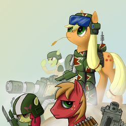 Size: 1196x1200 | Tagged: safe, artist:sigmatura, apple bloom, applejack, big macintosh, granny smith, earth pony, pony, armor, bayonet, bolter, cadian shock troops, goggles, heavy bolter, helmet, imperial guard, lasgun, leman russ, tank (vehicle), vox caster, warhammer (game), warhammer 40k, weapon