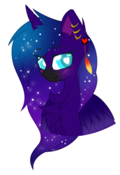 Size: 594x863 | Tagged: alicorn, artist:electricaldragon, bust, female, heart eyes, mare, oc, oc:black star, pony, portrait, safe, simple background, solo, transparent background, wingding eyes