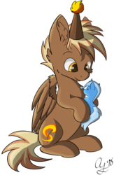 Size: 1280x1968 | Tagged: safe, artist:aurorafang, trixie, oc, oc only, oc:firebrand, pegasus, pony, birthday, cute, eyes on the prize, hat, male, party hat, plushie, simple background, solo, stallion, transparent background