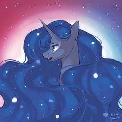 Size: 1900x1900 | Tagged: safe, artist:eeviart, princess luna, alicorn, pony, bust, female, mare, solo
