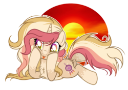 Size: 1024x727 | Tagged: artist:mintoria, base used, female, mare, oc, oc:glory, pony, prone, safe, solo, tongue out, unicorn