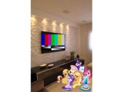 Size: 960x720 | Tagged: safe, edit, applejack, fluttershy, pinkie pie, rainbow dash, rarity, starlight glimmer, sunset shimmer, twilight sparkle, alicorn, bad edit, irl, mane eight, photo, ponies in real life, technical difficulties, television, twilight sparkle (alicorn), watching tv