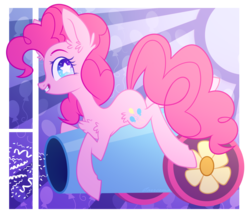 Size: 1258x1090 | Tagged: artist:starrcoma, chest fluff, earth pony, female, mare, party cannon, pinkie pie, pony, safe, smiling, solo, starry eyes, wingding eyes