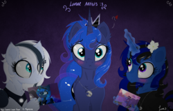 Size: 3500x2250 | Tagged: alicorn, artist:darkest-lunar-flower, blushing, cute, female, gift art, heart, magic, oc, oc:darkest lunar flower, oc:lyra sphinx, pony, present, princess luna, safe, starry eyes, unicorn, wingding eyes
