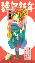 Size: 1500x2668 | Tagged: safe, artist:bbtasu, sunset shimmer, human, equestria girls, clothes, cute, fan, female, flower, folding fan, hair, hand fan, japanese, japanese new year, jewelry, kimono (clothing), new year, shimmerbetes, solo, tiara, translated in the comments