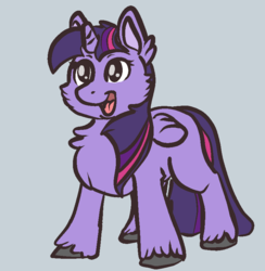 Size: 800x820 | Tagged: alicorn, artist:neyonic, cheek fluff, chest fluff, female, fluffy, looking at you, mare, missing cutie mark, open mouth, safe, simple background, smiling, solo, twilight sparkle, twilight sparkle (alicorn), unshorn fetlocks