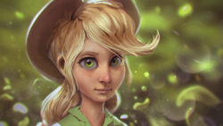 Size: 1200x675 | Tagged: safe, artist:assasinmonkey, applejack, human, equestria girls, beautiful, big eyes, bust, cowboy hat, digital painting, equestria girls outfit, female, freckles, green, hat, humanized, lips, looking at you, messy hair, portrait, realistic, solo, stetson, uncanny valley, woman