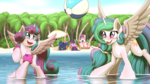 Size: 3840x2160 | Tagged: 4k, alicorn, alicorn pentarchy, artist:ohemo, ball, beach, beach ball, beach umbrella, blushing, book, camera, covered, cute, cutedance, cutelestia, duo focus, eyes closed, female, filly, floaty, flurrybetes, hairband, high res, island, looking at something, lunabetes, lying, mare, missing accessory, ocean, older, older flurry heart, on back, open mouth, outdoors, palm tree, playful, playing, pony, pouncing, princess, princess cadance, princess celestia, princess flurry heart, princess luna, princess only, prone, raised leg, royalty only, safe, sand, sitting, sleeping, smiling, splashing, sports, spread wings, standing, summer, taking a photo, that pony sure does love books, tree, twiabetes, twilight sparkle, twilight sparkle (alicorn), umbrella, volleyball, wading, wallpaper, watching, water, water wings, wide eyes, wings, younger