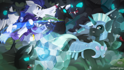 Size: 2100x1181 | Tagged: safe, artist:redchetgreen, oc, oc:valorheart, changeling, pegasus, pony, unicorn, armor, battlefield, commission, fight, force field, glowing horn, magic, male, royal guard, shield, stallion, weapon, ych result