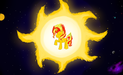 Size: 1694x1030 | Tagged: safe, artist:horsesplease, sunset shimmer, catasterism, equestria, fiery shimmer, fire tail, mane of fire, mars, mercury (planet), moon, nebula, planet, pony bigger than a planet, raised hoof, smiling, solar system, solo, space, stars, sun, sunshine shimmer, venus