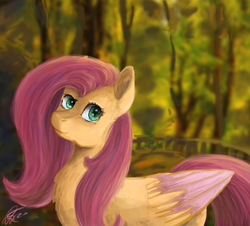 Size: 448x405   Tagged: safe, artist:ottcat23, fluttershy, pegasus, pony, chest fluff, colored wings, female, forest, mare, smiling, solo