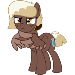 Size: 4688x4688 | Tagged: absurd res, alternate hairstyle, artist:besttubahorse, freckles, frown, lightly watermarked, oc, oc only, oc:sweet mocha, safe, simple background, solo, text, transparent background, vector, watermark, wing hands