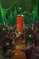 Size: 2097x3121   Tagged: safe, artist:audrarius, queen chrysalis, anthro, changeling, changeling queen, unguligrade anthro, angry, armor, bare shoulders, bipedal, breasts, busty queen chrysalis, clothes, fangs, female, glowing eyes, helmet, japanese, katana, kimono (clothing), looking at you, open mouth, samurai, smiling, smirk, sword, weapon