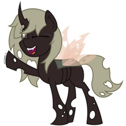 Size: 4688x4688 | Tagged: absurd res, artist:besttubahorse, changeling, changeling oc, cute, oc, oc:asphodel, oc only, one eye closed, raised hoof, safe, simple background, solo, transparent background, wink