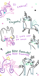 Size: 630x1200 | Tagged: safe, artist:jargon scott, princess cadance, queen chrysalis, alicorn, changeling, changeling queen, pony, baman piderman, best friends, comic, dialogue, female, heart, holding hooves, mare, simple background, white background