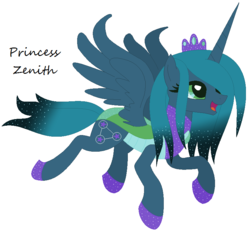 Size: 800x742 | Tagged: safe, artist:razorbladetheunicron, oc, oc only, oc:princess zenith, alicorn, changedling, changeling, changepony, hybrid, lateverse, base used, crown, female, gradient mane, interspecies offspring, jewelry, magical lesbian spawn, next generation, offspring, parent:pharynx, parent:princess luna, parents:lunarynx, princess, regalia, simple background, solo, white background