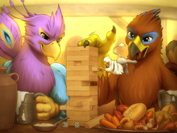 Size: 3800x2850 | Tagged: safe, artist:mykegreywolf, oc, oc only, oc:der, oc:gyro feather, oc:gyro tech, oc:saewin, griffon, alcohol, bar, beer, bowl, commission, dice, drink, food, griffon oc, griffonized, high res, jenga, micro, night out, open mouth, size difference, soup, species swap, spoon, tavern