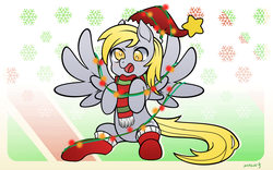Size: 2362x1476 | Tagged: artist:xenosaga428, blushing, christmas, christmas lights, clothes, cute, derpy hooves, female, hat, holiday, mare, pegasus, safe, scarf, smiling, socks, solo
