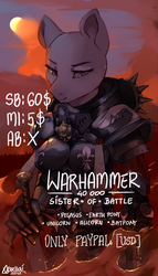 Size: 800x1400 | Tagged: safe, artist:varllai, anthro, adepta sororitas, advertisement, armor, commission, power armor, power sword, solo, warhammer (game), warhammer 40k, your character here
