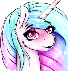 Size: 539x564 | Tagged: alicorn, artist:aaa-its-spook, blushing, canon, eyeshadow, lipstick, looking at you, makeup, princess, princess celestia, safe, smiling, solo