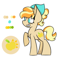 Size: 5511x5511 | Tagged: artist:rainelathepegasus00, description is relevant, earth pony, female, freckles, magical lesbian spawn, mare, next generation, oc, oc:melania, oc only, offspring, parent:applejack, parent:coloratura, parents:rarajack, pony, reference sheet, safe, simple background, smiling, solo, white background