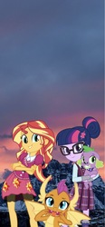Size: 710x1536   Tagged: safe, artist:php77, editor:php77, sci-twi, smolder, spike, spike the regular dog, sunset shimmer, twilight sparkle, dog, equestria girls, 1000 hours in gimp, equestria girls in real life, family, irl, phone wallpaper, photo, wallpaper