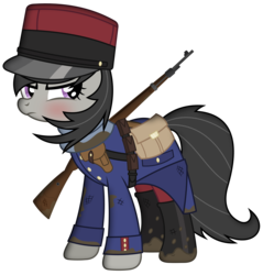 Size: 2869x3000 | Tagged: artist:brony-works, boots, clothes, french, gun, mud, octavia melody, pony, rifle, safe, shoes, simple background, solo, transparent background, uniform, vector, weapon, world war i