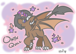 Size: 504x358 | Tagged: artist:orbitalaerospace, claws, cute, dracony, floral head wreath, flower, hybrid, kirin, oc, ocbetes, oc:onyx quill, safe, wings