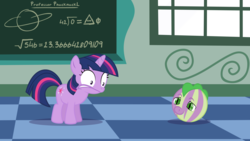 Size: 1920x1080 | Tagged: artist:phucknuckl, baby, baby spike, ball, female, filly, filly twilight sparkle, inanimate tf, inkscape, morph ball, safe, school for gifted unicorns, spell gone wrong, spike, transformation, twilight sparkle, vector, younger