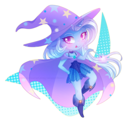 Size: 1071x1021   Tagged: safe, artist:caramelflower, trixie, unicorn, anthro, beautiful, blushing, boots, cape, chibi, clothes, cute, diatrixes, female, hat, leotard, looking at you, magician outfit, moe, see-through, shoes, simple background, skirt, solo, tongue out, transparent background, trixie's cape, trixie's hat, wand
