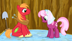 Size: 1280x720   Tagged: safe, screencap, big macintosh, cheerilee, hearts and hooves day (episode), eyes on the prize, mattress, out of context, pit, shovel, veil