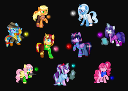 Size: 1024x735 | Tagged: safe, artist:artzy-jamie7302, applejack, fluttershy, pinkie pie, rainbow dash, rarity, starlight glimmer, sunset shimmer, trixie, twilight sparkle, alicorn, earth pony, pegasus, pony, unicorn, alternate hairstyle, black background, chara, charaset, clothes, crossover, frisk, glasses, gun, heart, magic, notebook, pan, simple background, skirt, soul, telekinesis, twilight friskle, twilight sparkle (alicorn), undertale, weapon
