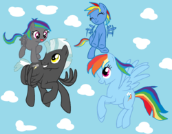 Size: 1188x928 | Tagged: artist:kawat3ngusan, family, female, male, offspring, parent:rainbow dash, parents:thunderdash, parent:thunderlane, rainbow dash, safe, shipping, straight, thunderdash, thunderlane