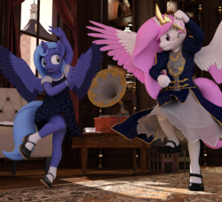 Size: 2000x1818 | Tagged: safe, artist:tahublade7, princess celestia, princess luna, anthro, 3d, cewestia, clothes, colored wings, colored wingtips, dancing, dancing queen, daz studio, dress, female, filly, gramophone, panties, pink-mane celestia, royal sisters, skirt, underwear, upskirt, white underwear, woona, younger