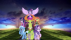 Size: 2048x1144   Tagged: safe, artist:php77, editor:php77, sci-twi, spike, starlight glimmer, sunset shimmer, thorax, trixie, twilight sparkle, changedling, changeling, pony, equestria girls, alternate universe, equestria girls in real life, irl, king thorax, photo, ponied up, ponies in real life, twolight, wallpaper