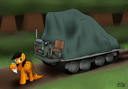 Size: 3412x2369   Tagged: safe, artist:the-furry-railfan, oc, oc only, oc:twintails, pegasus, pony, artillery, dirt road, engine, forest, grin, letter, looking back, smiling, story included, tarp, this will end in balloons, this will end in explosions