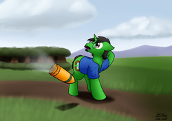 Size: 2489x1757   Tagged: safe, artist:the-furry-railfan, oc, oc only, unicorn, artillery, clothes, cloud, cloudy, confused, dirt road, facial hair, forest, glasses, grass field, mountain, mountain range, moustache, this will end in balloons, this will end in explosions, vest