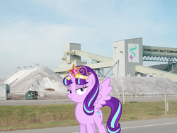 Size: 1200x900 | Tagged: safe, artist:slb94, starlight glimmer, alicorn, pony, accessory theft, alicornified, big crown thingy, element of magic, fffuuuuu, food, irl, jewelry, lidded eyes, looking at you, meme, photo, photoshop, ponies in real life, race swap, regalia, salt, salt mine, solo, spread wings, starlicorn, this will end in communism, wings, xk-class end-of-the-world scenario