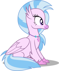 Size: 4189x5000   Tagged: safe, artist:dashiesparkle, silverstream, classical hippogriff, hippogriff, non-compete clause, .svg available, absurd resolution, cute, diastreamies, female, simple background, sitting, solo, transparent background, vector