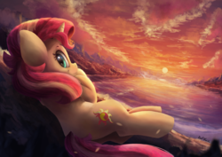 Size: 3600x2550   Tagged: safe, artist:discorded, artist:vanillaghosties, sunset shimmer, pony, unicorn, collaboration, cute, female, looking at you, looking back, looking back at you, mare, pun, scenery, shimmerbetes, smiling, solo, sunset, visual pun