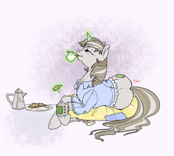 Size: 2000x1789 | Tagged: safe, artist:sourcherry, oc, oc only, oc:littlepip, pony, unicorn, fallout equestria, abstract background, calm, clothes, coffee, coffee mug, coffee pot, cookie, cutie mark, drinking, eyes closed, fanfic, fanfic art, female, food, glowing horn, hooves, horn, levitation, lying down, lying on pillows, magic, mare, mug, older, on side, pipbuck, pipleg, plate, solo, telekinesis